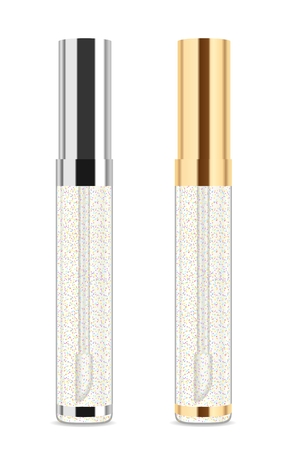 Transparent shiny lip gloss isolated on white. Two bottles with silver and golden tops. Vector illustration Stock Illustratie