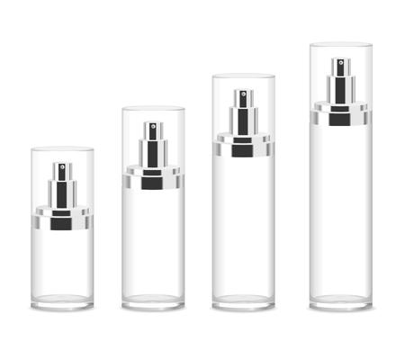 Cuatro botellas de cosméticos de acrílico transparente aislados en blanco. Diferentes tamaños. Lugar para el texto. Ilustración detallada del vector Ilustración de vector