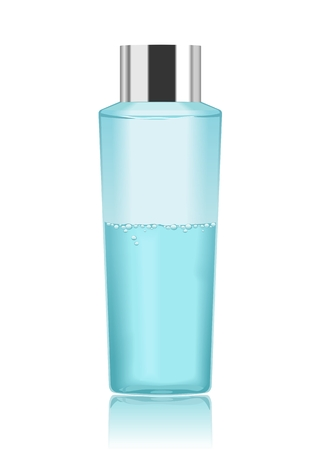 clear skin: Blue transparent cosmetic bottle isolated on white. Make-up remover. Detailed vector illustration
