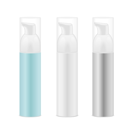 Three transparent blank cosmetic bottles. Blue, white and grey colors. Detailed vector illustration Ilustração