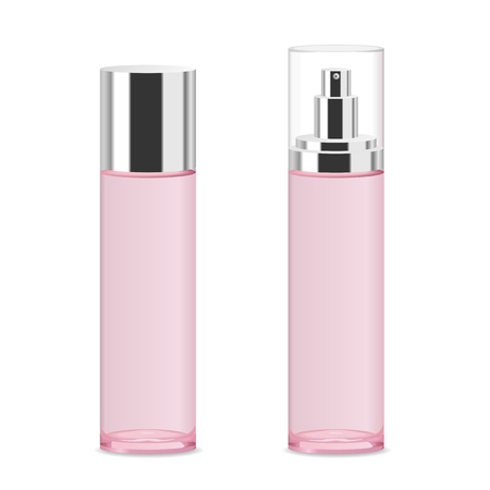 Two transparent acrylic cosmetic bottles. Modern design. Place for your text. Detailed vector illustration