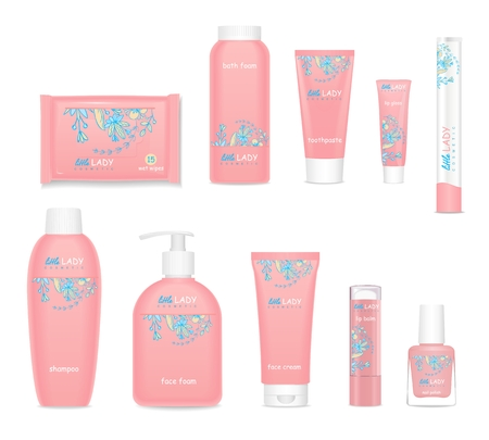Set of pink children cosmetic tubes. Pretty girls design. Little lady collection. Vector illustration Stock Illustratie