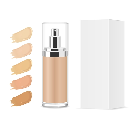 Foundation cream shades. Glass tube and paper package. Color palette. Vector illystration Vettoriali