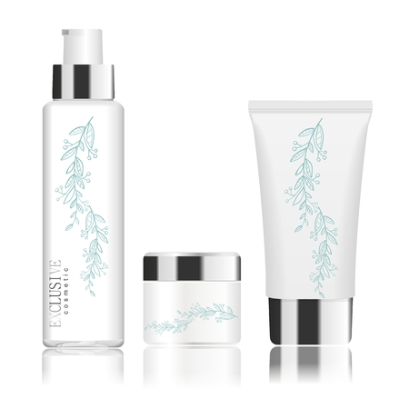 Collection of three cosmetic tubes isolated on white. Modern floral design. Place for your text. Hair shampoo, lotion and cream. Detailed vector illustration