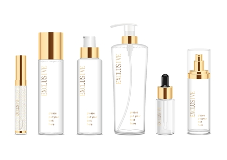 product packaging: Collection of six cosmetic acrilic tubes isolated on white. Gold and white colors. Modern design. Place for your text. Detailed vector illustration
