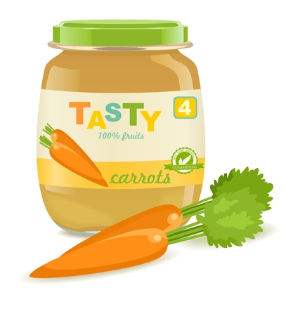 Detailed glass jar with carrot baby puree. Great modern design of label. Vector illustration