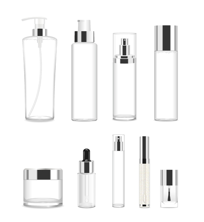 Collection of nine cosmetic acrilic or glass tubes isolated on white. Silver and white colors. Modern design. Place for your text. Detailed vector illustration Ilustração