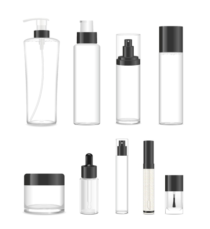 Collection of nine cosmetic acrilic or glass tubes isolated on white. Black and white colors. Modern design. Place for your text. Detailed illustration Ilustração
