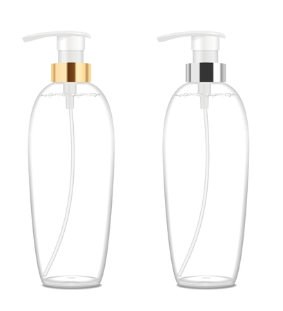 Two transparent acrylic cosmetic bottles isolated on white. Place for your text. Detailed  illustration