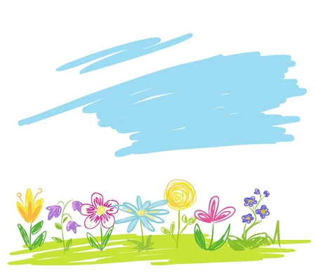 Hand drawn green meadow with colorful flower isolated on white. Kids drawn background vector isolated on white. Ilustração