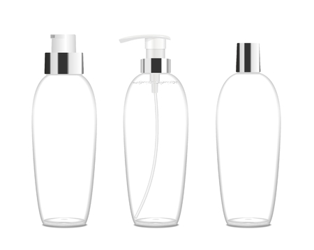 Three cosmetic acrilic or glass tubes isolated on white. Silver and white colors. Modern design. Place for your text. Detailed vector illustration