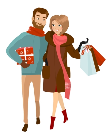 Man and woman in winter cloth with shopping bags. Family holiday shopping for Christams. Vector Stock Illustratie