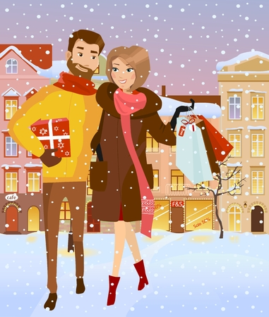 Man and woman in winter cloth with shopping bags. Family holiday shopping for Christams. Evening snowy street. Vector