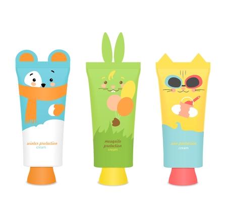 Drei bunte Baby kosmetische Gefäße. Hübsche Kinder Design: Bär, Katze und Kaninchen. Sonnenschutz, Winterschutz und Mückenschutz. Vektor-Illustration Standard-Bild - 69373803