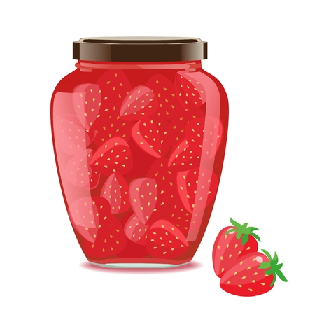 Detailed glass jar with strawberry jam. Vector illustration