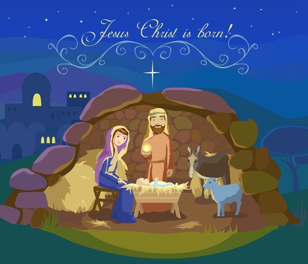 Card of Christmas night. Birth of Jesus Christ in Bethlehem. Josef, Mary and the Baby in the manger. Sheep and donkey are looking at the King. Text Jesus Christ is born. Vector illustration