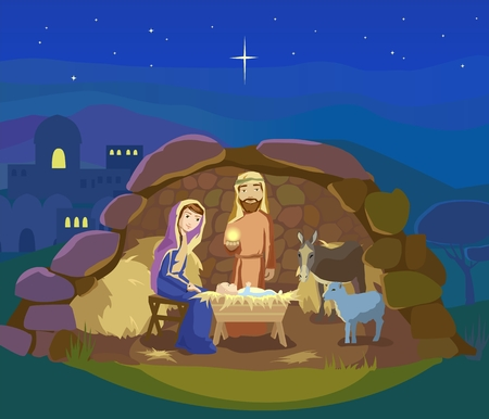 creche: Christmas night. Birth of Jesus Christ in Bethlehem. Josef, Mary and the Baby in the manger. Sheep and donkey are looking at the King. Vector illustration