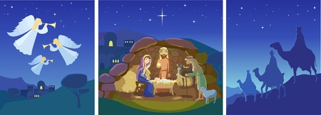 Three christian Christmas scenes. Holy night. Angels in sky above the field. Birth of Jesus Christ in Bethlehem. Josef, Mary and the Baby in the manger. Sheep and donkey are looking at the King. Shepherds came to worship the Lord. Three wise men on camels Ilustração