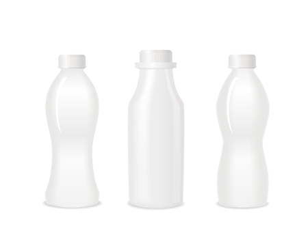 Set of three blank white bottles for milk or yogurt. Different shapes. Ready For Your Design. Vector
