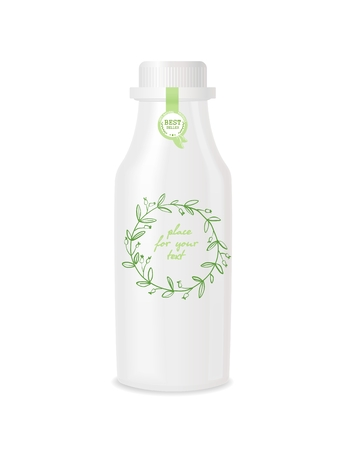 Plastic bottle with design.