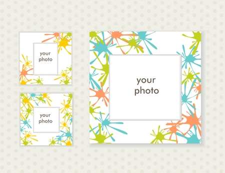 Three photo frames for your design. Vector Ilustração