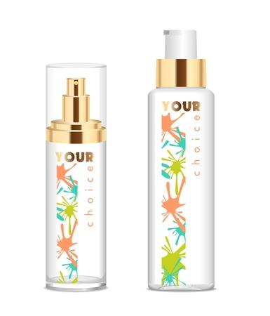 Two transparent cosmetic bottles Stock Illustratie