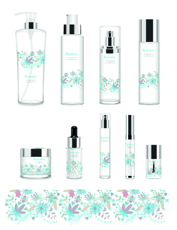 Set of nine transparent cosmetic tubes with design. Vector Ilustração