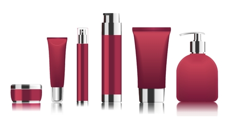 Red cosmetic tubes. Vector
