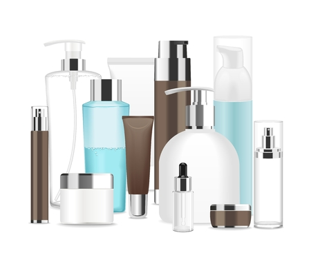 Group of different cosmetic tubes. Stock Illustratie