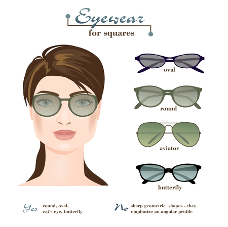 Womens glasses for squares. Stock Illustratie