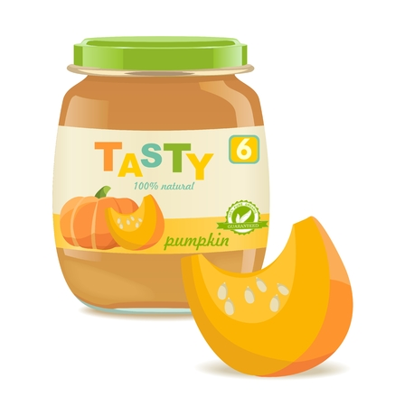 Glass jar with pumpkin baby food