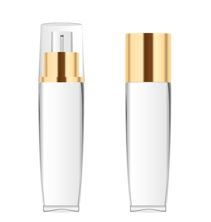 Two transparent cosmetic bottles Ilustrace