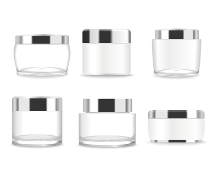 Collection of six cosmetic acrilic or glass tubes with silver caps isolated on white. Modern design. Place for your text. Detailed vector illustration
