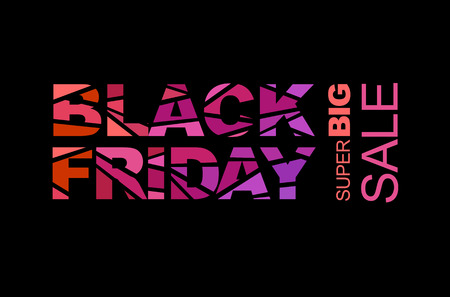 Black friday sale layout background. Colorful mosaic letters. Red, pink and violet colors. For art template design, list, flyer, poster, page, banner, cover, booklet, blank, card, ad, sign, badge. Vector.