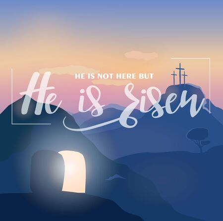 Holiday Easter card with text, opened cave.