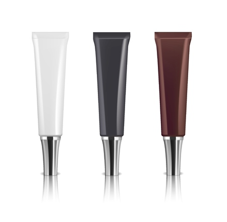 Three realistic cosmetic tubes with silver caps. White, black and brown colors. Serum or face cream package. Vector illustration