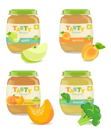 Four jars with different kids puree. retro style. Vector