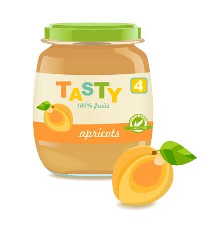 Baby puree jar, apricot. Retro style. Vector Ilustrace