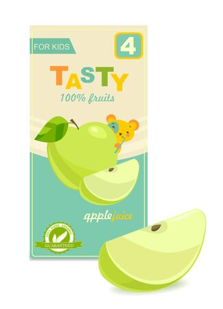 Colorful baby juice pack, slice of apple. Vector