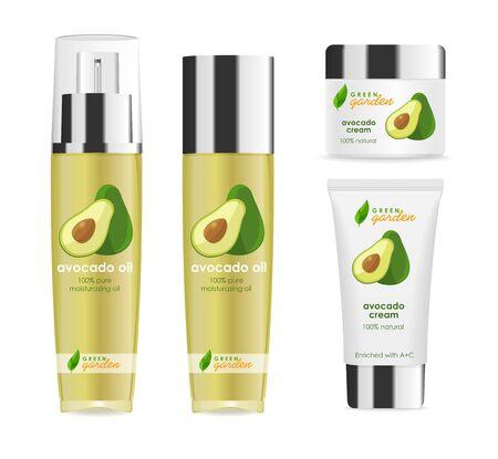 Vier realistische cosmetische tubes met zilveren doppen, avocado-design
