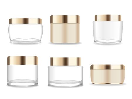 Set of six transparent and gold cosmetic packages. Beauty mock up. Vector