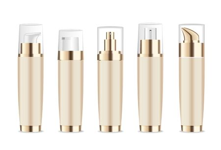Set of realistic gold bottles with pump dispenser or spray. Beauty product mock up isolated on white. Vector
