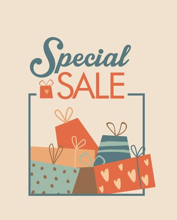 Beautiful sale advertisement with gifts, muted colors Illusztráció