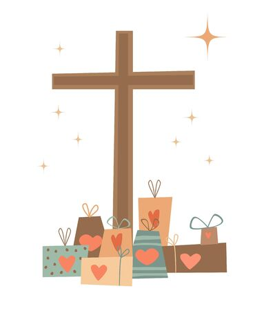 Christmas gifts to Jesus from people - their hearts. Ilustração Vetorial