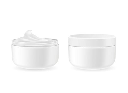 Cosmetic packages with cream isolated on white