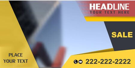 Horozontal web banner, vector. Universal design for advertising business, traveling, transport, etc. Place for photo.