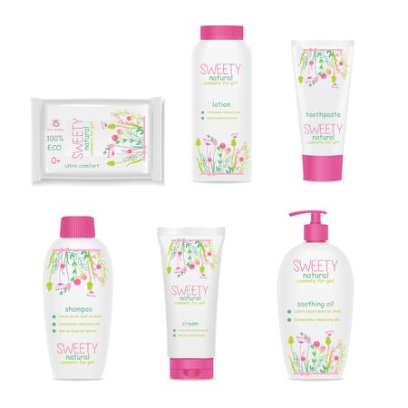Set of white girl cosmetic tubes with colorful kids design. Pink caps, floral ornament. Vector