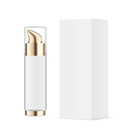 Realistic transparent cosmetic bottle with pump dispenser. White paper package. Vector Ilustracja