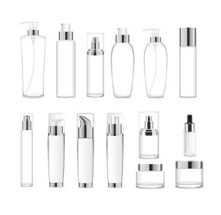 Gruppo di pacchetti cosmetici acrilici trasparenti. Vettore Vettoriali