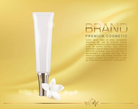 Beauty product ad design.White cosmetic serum or cream container with white flower of jasmine. Gold background. Vector